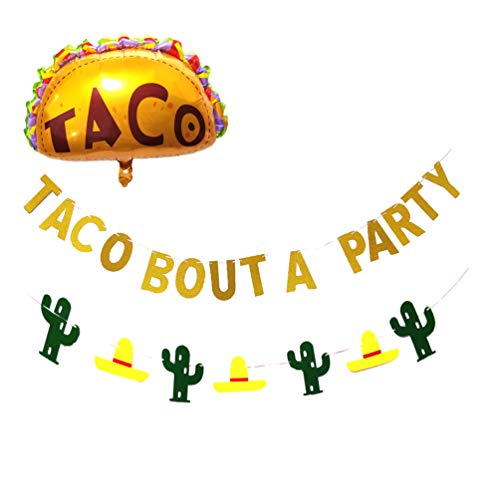 Cinco De Mayo Fiesta Party Decoration Supplies with Fiesta Taco Balloons,Gold Glittery Taco Bout A Party Garland Banner, Sombrero Party Hats Cactus Backdrop Banner for Luau Event Photo Props, Dia De Muertos Party ,Day of The Dead ,Mexican Theme Fiesta Party Supplies