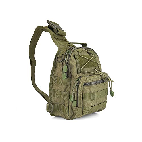 Procase Brusttasche Militär Sling Bag Schultertasche Umhängetasche mit Pistolenhalfter, Taktisch Outdoor Sport Tasche Rucksack für Wandern Radfahren Jagd Camping und Trekking -Grün