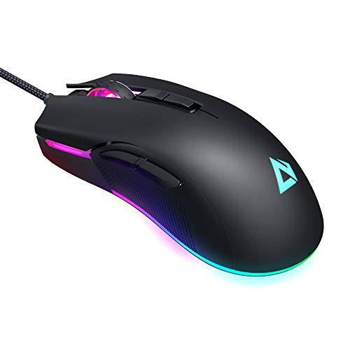 AUKEY Mouse Gaming RGB, Mouse FPS con 5000 DPI Reali, 6 Pulsanti Programmabili, Multicolore Retroilluminato, Design Ergonomico, Mouse da Gioco Ottico ad Alta precisione per Gamer Professionista, Nero