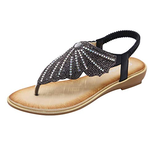 URIBAKY - Sandalias de cristal para mujer, sandalias de mariposa, sandalias de tacón, Negro (Negro ), 40 EU