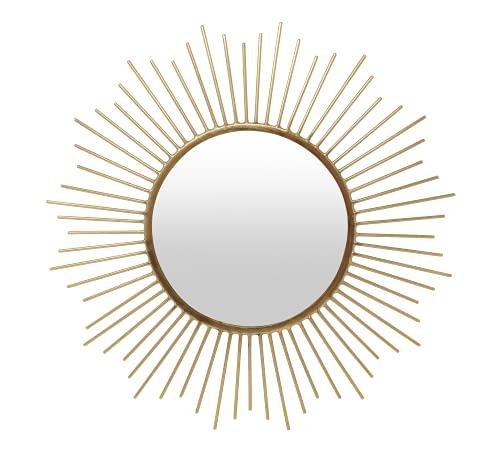 LaLe Living Specchio da parete – Helen – Specchio in ferro dorato da appendere alla parete, Ø 40 cm