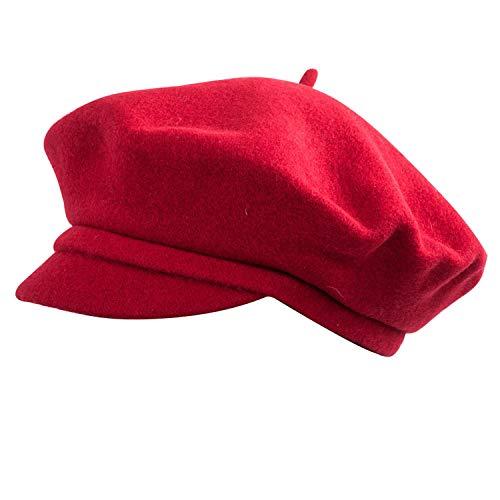 RACEU ATELIER Boina Vendome Roja - Boina con Visera - Hecha en Lana 100% - Talla Única - Boinas Mujer - Boina de Tipo Francés - Sombreros Mujer - Gorras Mujer Elegante