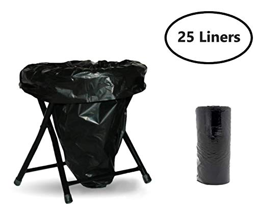 Trail Essentials Toilet Liners; Hygienic, Leak-Proof, Odor Free, Compatible with Camping Commodes and Portable Toilets, Black Opaque Color– Roll of Liners in Convenient Carry Case (25 Liners)