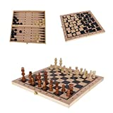 Ceasyde 3 in 1 Wooden Chessboard Game, 13' inch Deluxe Portable Folding Chess-Backgammon-Draughts Set, Puzzle...