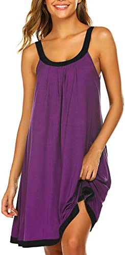 Ekouaer Soft Nightgown for Women Tank Sleepwear Teens Night Gowns Tank Top Summer Purple Small product image