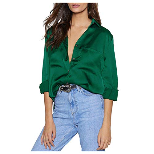 Berimaterry Damen Langarmshirt Mode Revers Knopf T-Shirt Tops Eleganter Langarm Einfarbig Lose Tunika Shirts Casual Große Größen Tasche Bluse Sommershirt
