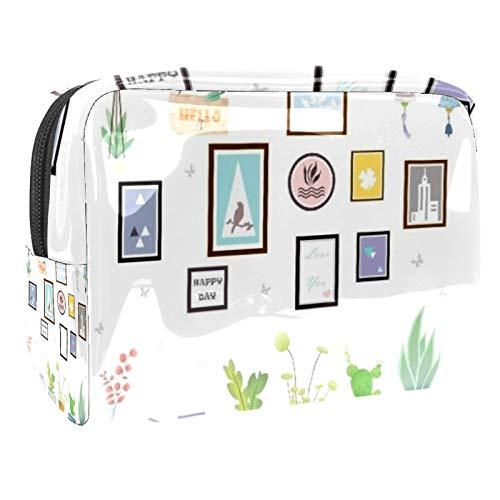 Bolsa de maquillaje portátil con cremallera, bolsa de aseo de viaje para mujeres, práctica bolsa de almacenamiento para cosméticos, álbum de fotos, plantas en maceta
