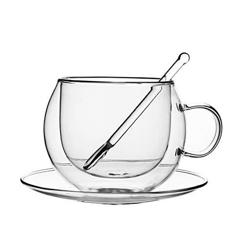 Nologo 0PING Kaffeetasse, doppelt isoliert, Kaffeetasse Satz Löffel eingedickte Saft Getränkebecher - 10 Unzen (300 ml) - Satz von 2 (Size : 300ml)