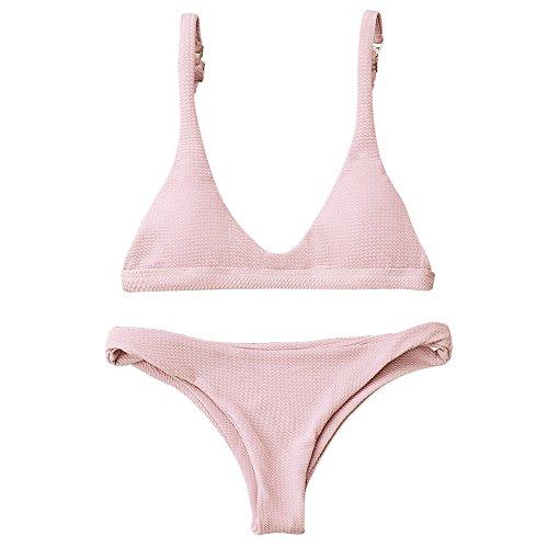 ZAFUL Damen Bikinis Triangle Bikini Set Badeanzug Push-up Bademode Swimsuit Swimwear(Rosa S)