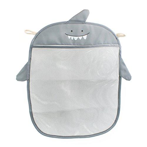 Yardwe Bad Spielzeug Organizer Badewanne Aufbewahrung Hai Muster Netz Badewannenspielzeug Tasche (grau)