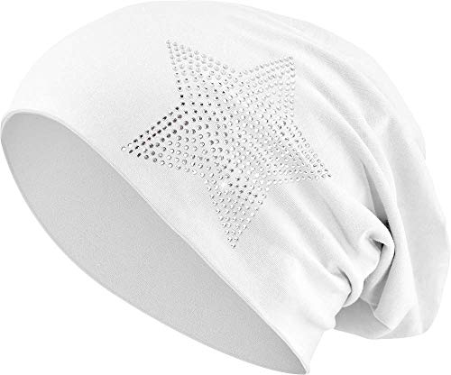 Balinco Jersey Baumwolle elastisches Long Slouch Beanie Unisex Herren Damen mit Strass Stern Steinen Mütze Heather in 35 (2) (White)