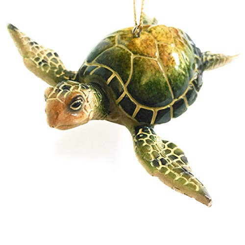 Christmas Ornaments - Home Decor - Hand-Painted Green Sea Turtle - Best for Tree Hanging, Bathroom Decorations, Stocking Stuffers, Scuba Lovers and Ocean Enthusiasts