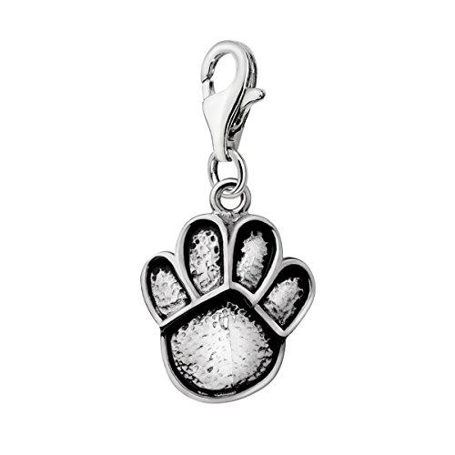 Quiges Charm Anhänger Hund Katze Pfote Abdruck 925 Silber mit Karabinerverschluss für Bettelarmband