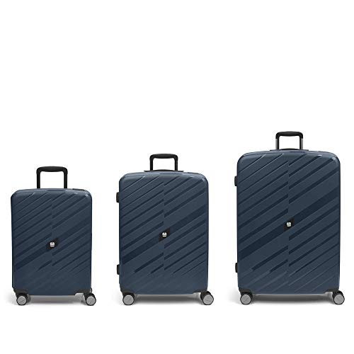 Gabol – Sendai | Hard Case Set with Three Blue Suitcases with Cabin Suitcase, Medium Trolley and Large Trolley