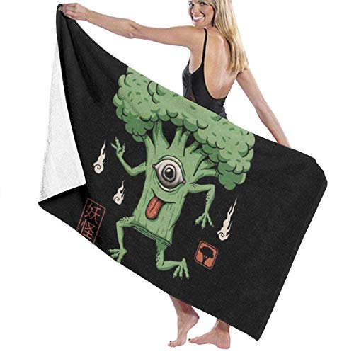 Olie Cam Yokai Toalla de baño de brócoli Toallas de Secado rápido absorbentes Suaves para Viajes Deportivos Piscina Playa Gimnasio Baño, 130 cm × 80 cm