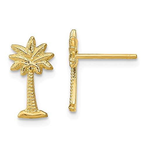 14ct Gold Special Mini Palmetto Palm Tree Oorbellen (links en rechts)