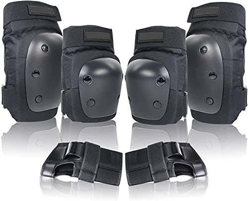 Knieschoner, Knee Pads Set for Children and Adults, Professional Protector Set for Skateboard, Skating, Scooters, Cycling, Inline Skates (L - Adults)