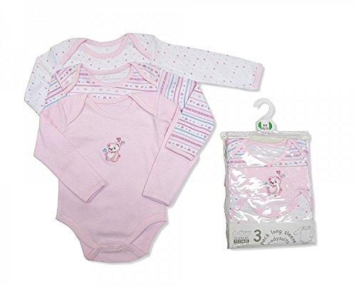 Nursery Time Lot de 3 bodies à manches longues rose – Naissance
