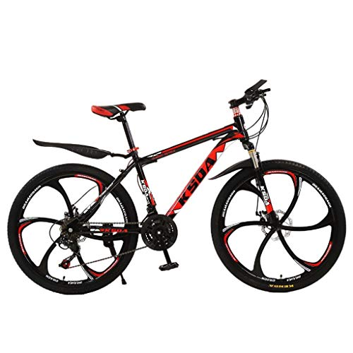 Junior Aluminum Full Mountain Bike, High Carbon Steel Full Suspension MTB 26 inch 21-Speed Bicycle, Disc Brakes Outdoor Mountain Bicycle for Men/Women (Black)