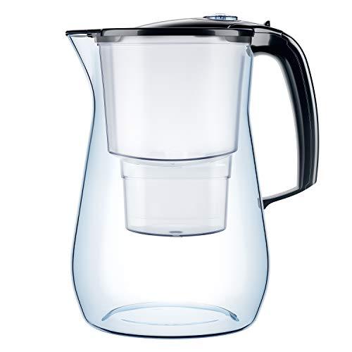 AQUAPHOR Onyx inkl. 1 MAXFOR+ Filterkartusche-Premium-Wasserfilter in Glasoptik zur Reduzierung von Kalk, Chlor & Schwermetallen, Kunststoff, schwarz, Volumen 4,2 l