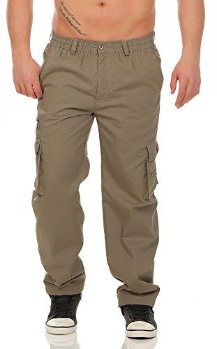 Fashion Herren Cargo Hose mit Dehnbund leicht gefütterte Thermohose - mehrere Farben ID528, Größe:3XL;Farbe:Coffee
