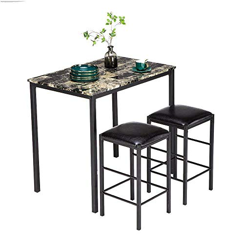 Modern 3 Piece Dining Table Set Black Marble and 2 Chairs Kitchen Furniture Hot Accent
