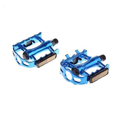 Los Pedales de la Bicicleta a Prueba de Agua Pedales Pedales de aleación de Aluminio Antideslizante Reflectante Seguridad en Bicicleta Pedales 1pair Azul 11 ??* 8.2 * 6cm Accesorios de la Bici