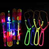 YFNEWWORLD 20 pcs LED Helicopter Shooters, Large Double Flash Rocket Slingshot Flying Toy, Glow in The Dark Arrow Rocket Copters Party Supplies Kids Fun Gift