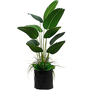 """Silk Flower Arrangements Deluxe 65"""" Premium Bird of Paradise Travelers Palm Artificial Tree + Fiddle Leaf and Tropical Grass Foliage in 8"""" Base + 12"""" Plant Pot Skirt."""