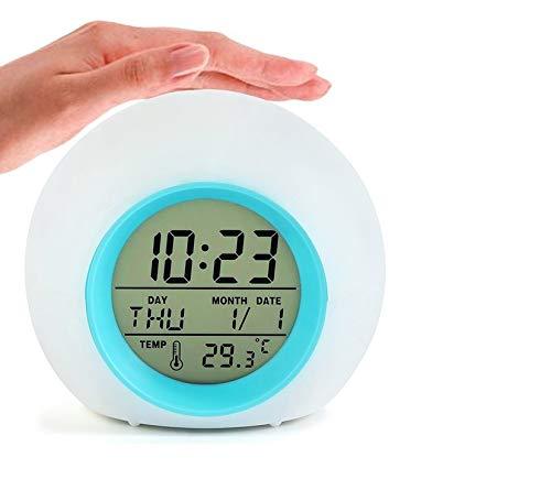 Sveglia Digitale, Allarme Sveglia per Bambini con 7 colori, Intelligente a LED Elettronica Orologio da Comodino, con Tempo 12 24 Ore, Data, Temperatura, Funzione Snooze