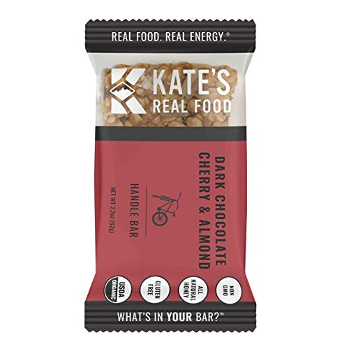 Kate's Real Food Granola Bars 12 Pack | Handle Bar Dark Chocolate Cherry & Almond | Clean Energy, Organic Ingredients, Gluten Free, Non GMO | All Natural Delicious Health Snack
