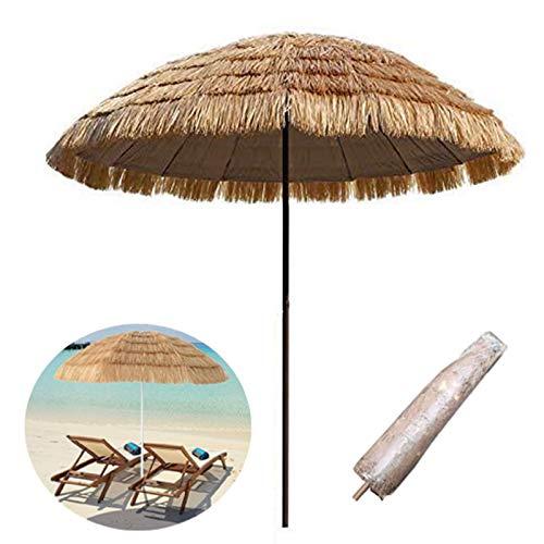 LDJ Parasol pour Table Extérieur Patio, avec 8 Nervures Parasol De Plage Rond, Simulation Parapluie De Paille pour Jardin, Protection UV, Style Hawaïen, Couleur Naturelle