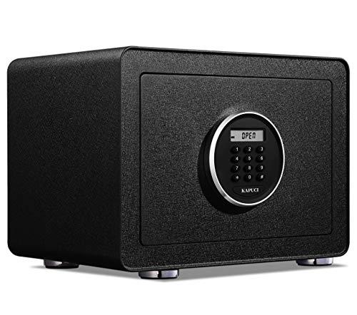 KAPUCI Deluxe Sleek Auto-Open Safes, Digital Keypad Screen Safe Box with Internal Light, Full Felt...