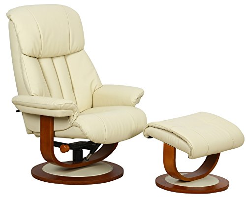 GFA Hereford Genuine Leather Cream Swivel Recliner Chair With Matching Footstool
