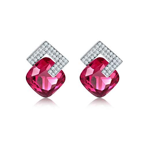 Plata de Ley 925 Pendientes Hipoalergénicos Pendientes de botón en Plata de Primera - Hipoalergénicos Pendientes Pendientes de Diamantes geométricos Cuadrados Accesorios de Vestir,Rojo