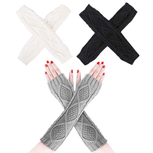 Emooqi Strick Armstulpen fingerlos Handschuhe, Damen gestrickte Armstulpen/Winter Fingerlose Handschuhe, Einheitsgröße Schwarz/Weiß/Grau