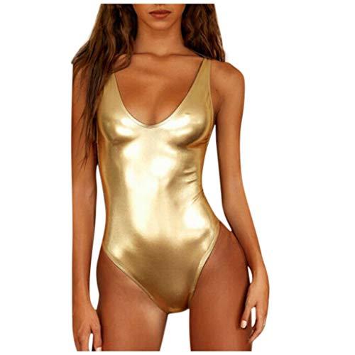 Monokini Damen Bauchweg Pad BH Solide Helle Haut Badebekleidung Bikini Set (36, Gold Reflektierend)