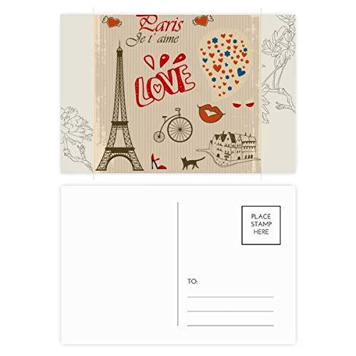 DIYthinker Liebe Paris Frankreich Eiffelturm-Blumen-Postkarte Set dankt Karte Mailing Side 20pcs 5.7 Zoll x 3.8 Zoll Mehrfarbig
