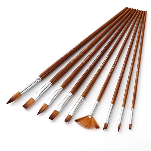 ChengBeautiful Paint Brushes Set 9pcs Professional Paint Brushes Set for Watercolors Acrylics Ideal Paint Brush Set (Color : Brown, Size : One size)
