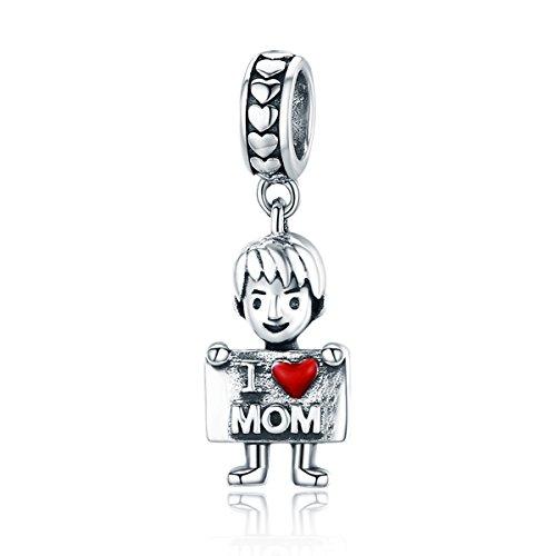 Colgante de niño o niña de plata de ley 925 para pulsera original (colgante de niño pequeño)