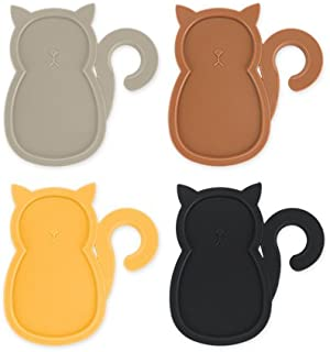 Cat Party Plates (Set of 4) Cocktail Buffet Plates beverage holder with Wine Stem Holder Multicolored by TrueZoo