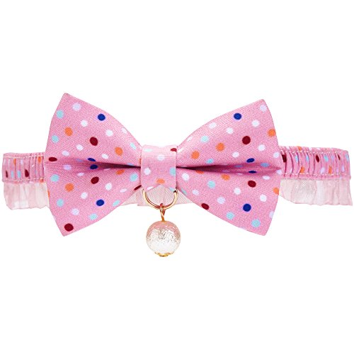 Blueberry Pet 18 Patterns Ultra Pink Polka Dot Breakaway Bowtie Cat Collar Lace Choker Necklace with Handmade Bow Tie and Pearl Charm, Safety Elastic...