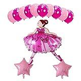 Ysguangs Globos Brillante Muchacha de la Bailarina Hoja hincha Conjunto Ballet Fiesta de cumpleaños del bailarín de Helio Globos niñas Felices (Color : Pink Set)