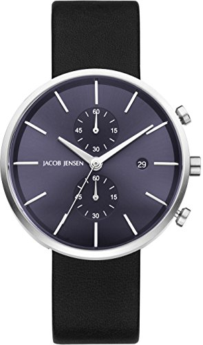 Jacob Jensen Herren Chronograph Quarz Uhr mit Leder Armband 621