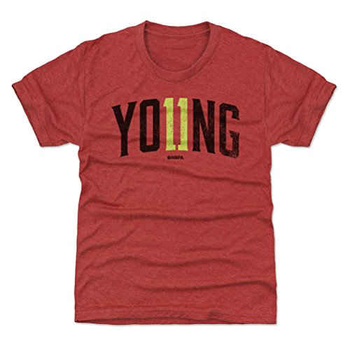 500 LEVEL Trae Young Atlanta Youth Shirt (Kids Shirt, Large (10-12Y), Tri Red) - Trae Young Name Number K WHT