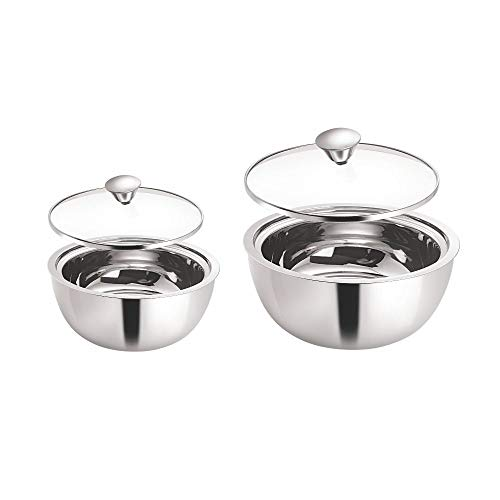 Borosil Stainless Steel Insulated Curry Server, Set of 2 (500ml + 900ml) Silver
