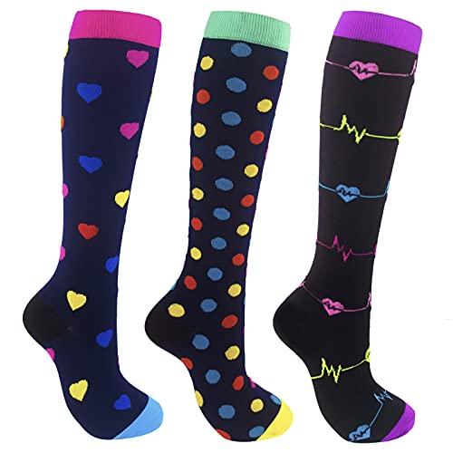 3 pares de Medias de Compresion Para Hombres y Mujeres, Medias Compresion Enfermera, calcetines médicos de prevención de varices, calcetines deportivos de ciclismo, calcetines de running (L   XL)