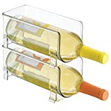 mDesign Plastic Free-Standing Water Bottle and Wine Rack Storage Organizer for Kitchen Countertops, Table Top, Pantry, Fridge - Stackable, Each Rack Holds 1 Bottle, 2 Pack - Clear