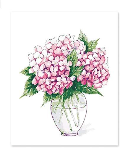 zzqxx DIY Acryl Malerei Kit für DIY Leinwand Öl Hortensie Phalaenopsis Bouquet Hortensie Liebhaber, Kinder und Mütter-40x50cm-Frameless