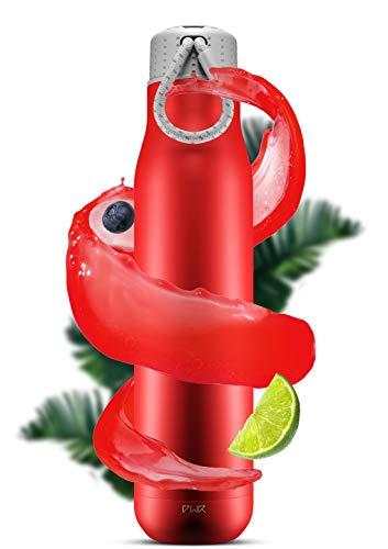 PWR Nomad Edelstahlflasche 750 ml Kohlensäure geeignet BPA Frei   Trinkflasche 24 Stunden kalt (Red/Grey/Grey, 750 ML)